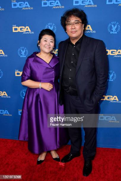 Lee Jeongeun and Bong Joonho arrive for the 72nd Annual Directors Guild Of America Awards at The Ritz Carlton on January 25 2020 in Los Angeles...