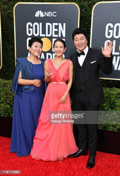 Lee Jeongeun Cho Yeojeong and KangHo Song attend the 77th Annual Golden Globe Awards at The Beverly Hilton Hotel on January 05 2020 in Beverly Hills...