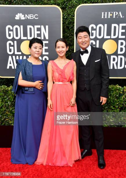 Lee Jeongeun Cho Yeojeong and Song Kangho attend the 77th Annual Golden Globe Awards at The Beverly Hilton Hotel on January 05 2020 in Beverly Hills...