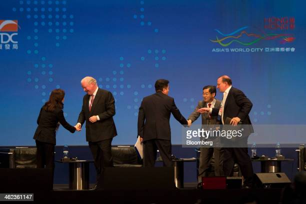 Lee Jih-chu, chairman of the Bank of Taiwan, from left, Michael Smith, chief executive officer of Australia & New Zealand Banking Group Ltd. , David...