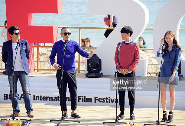 Lee JiHoon Ha JungWoo Jung KyoungHo and Ko SungHee attend a outdoor greeting of 'Fasten Your Seatbelt' during the 18th Busan International Film...