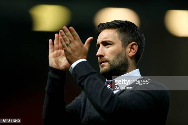 Lee Johnson manager of Bristol City applauds the fans after the Sky Bet Championship match between Bristol City and Bolton Wanderers at Ashton Gate...