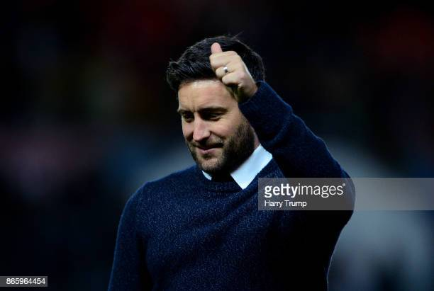 Lee Johnson Manager of Bristol City celebrates after the Caraboa Cup Fourth Round match between Bristol City and Crystal Palace at Ashton Gate on...
