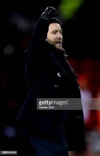 Lee Johnson manager of Bristol City celebrates after the Sky Bet Championship match between Sheffield United and Bristol City at Bramall Lane on...
