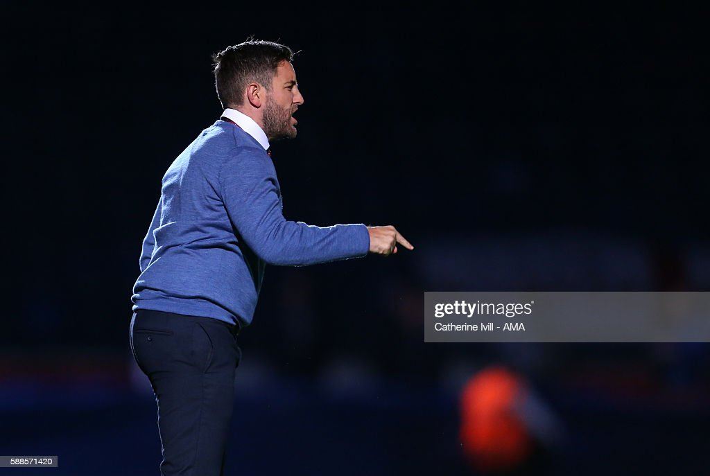 Lee Johnson manager of Bristol City during the EFL Cup match between Wycombe Wanderers and Bristol City at Adams Park on August 8, 2016 in High Wycombe, England.