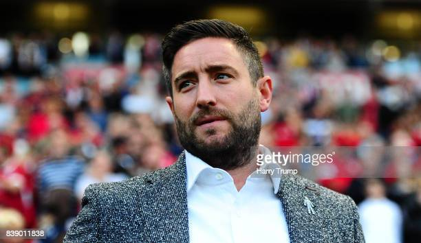 Lee Johnson Manager of Bristol City during the Sky Bet Championship match between Bristol City and Aston Villa at Ashton Gate on August 25 2017 in...