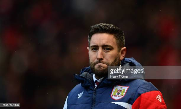 Lee Johnson Manager of Bristol City during the Sky Bet Championship match between Bristol City and Reading at Ashton Gate on December 26 2017 in...