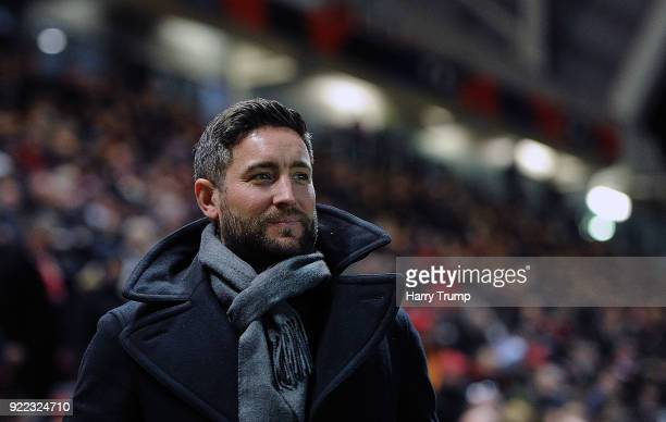 Lee Johnson Manager of Bristol City during the Sky Bet Championship match between Bristol City and Fulham at Ashton Gate on February 21 2018 in...