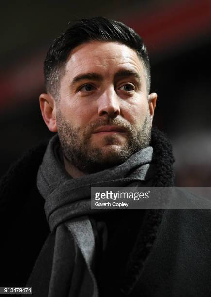 Lee Johnson of Bristol City looks on prior to the Sky Bet Championship match between Bolton Wanderers and Bristol City at Macron Stadium on February...