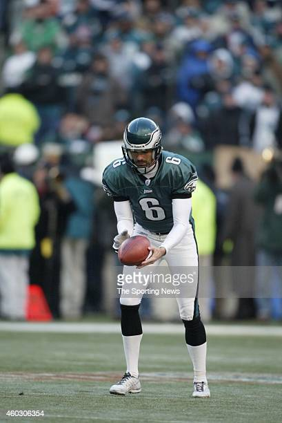 Lee Johnson of the Philadelphia Eagles punts the ball away during a game against the Tampa Bay Buccaneers on January 19 2003 at Veteran's Stadium in...