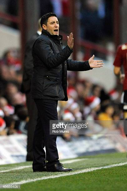Lee Johnson Oldham Athletic Manager reacts during the Sky Bet League One match between Brentford and Oldham Athletic at Griffin Park on December 14...