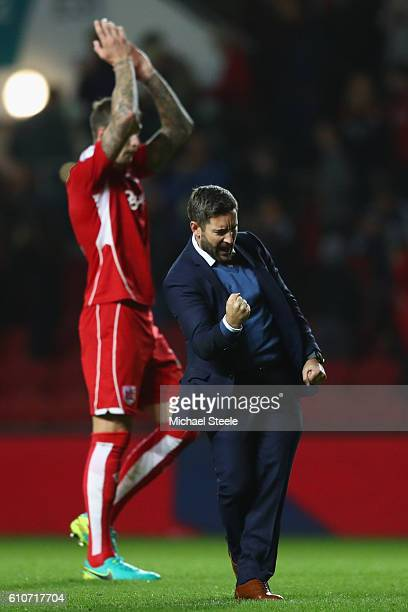 Lee Johnson the manager of Bristol City celebrates his sides 10 victory during the Sky Bet Championship match between Bristol City and Leeds United...