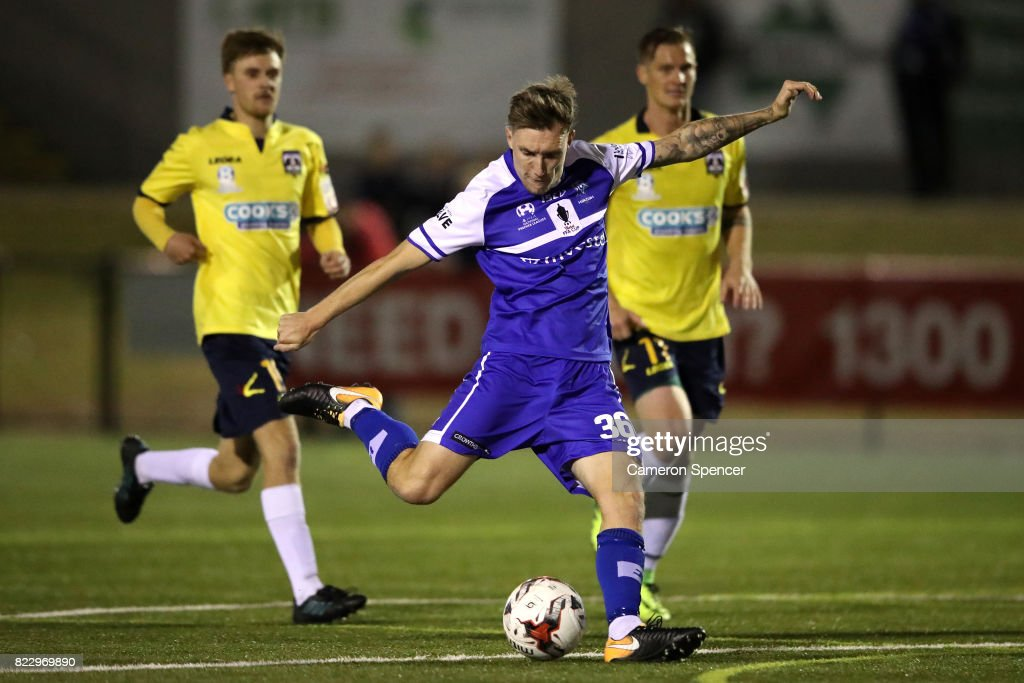 Lee Jones of Hakoah FC kicks a goal during the FFA Cup round of 32 match between Hills United FC and Hakoah Sydney City East at Lily's Football Stadium on July 26, 2017 in Sydney, Australia.