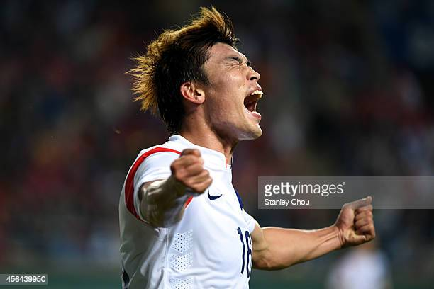 Lee Jongho of South Korea in ecstacy after scoring the 1st goal against Thailand during the Football Mens semifinal match between South Korea and...
