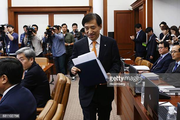 Lee Ju Yeol governor of the Bank of Korea arrives for a monetary policy meeting at the central bank's headquarters in Seoul South Korea on Friday May...