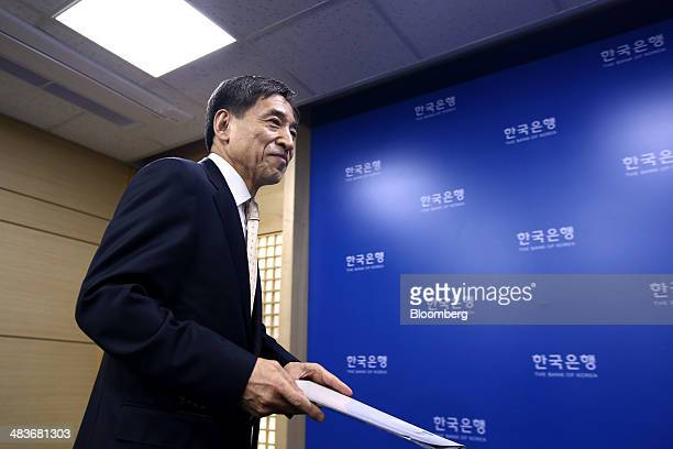 Lee Ju Yeol governor of the Bank of Korea arrives for a news conference following a monetary policy meeting at the central bank's headquarters in...