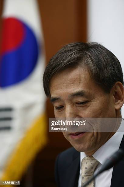 Lee Ju Yeol governor of the Bank of Korea attends a monetary policy meeting at the central bank's headquarters in Seoul South Korea on Thursday April...