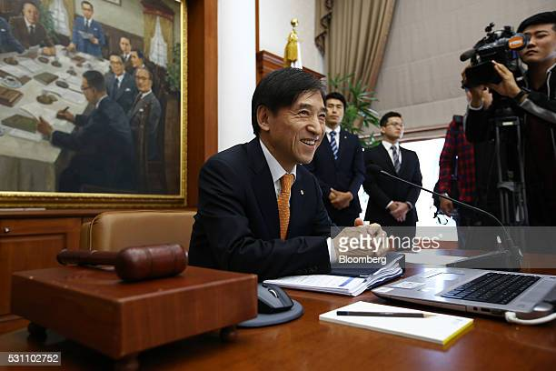 Lee Ju Yeol governor of the Bank of Korea attends a monetary policy meeting at the central bank's headquarters in Seoul South Korea on Friday May 13...