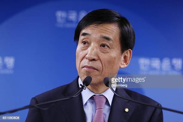 Lee Ju Yeol governor of the Bank of Korea attends a news conference following a monetary policy meeting at the central bank's headquarters in Seoul...