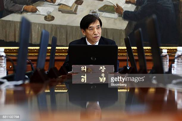 Lee Ju Yeol governor of the Bank of Korea speaks during a monetary policy meeting at the central bank's headquarters in Seoul South Korea on Friday...