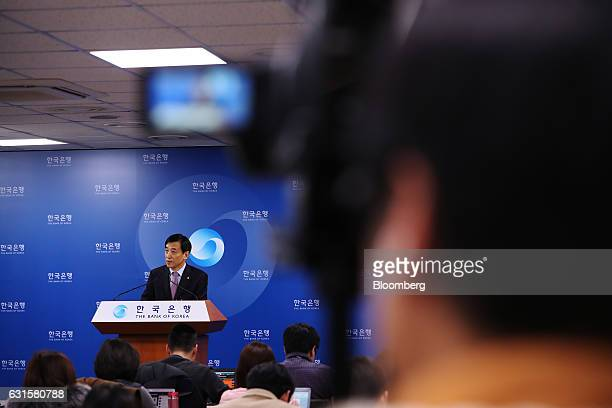 Lee Ju Yeol governor of the Bank of Korea speaks during a news conference following a monetary policy meeting at the central bank's headquarters in...
