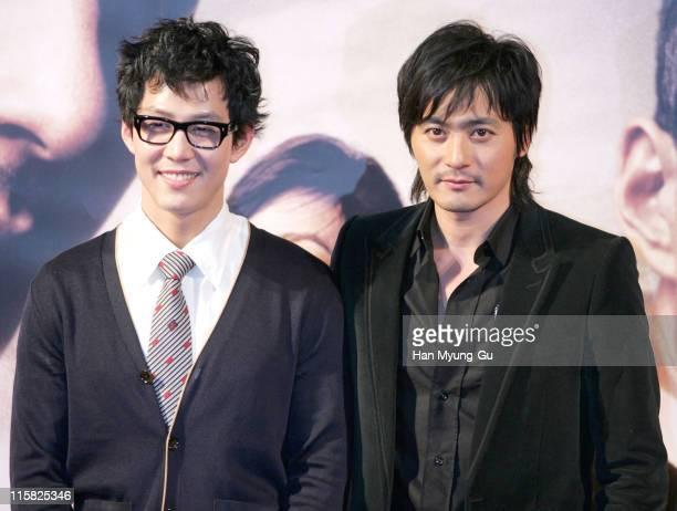 "Lee Jung-Jae and Jang Dong-Gun during ""Typhoon"" Press Conference - December 5, 2005 at Yongsan CGV in Seoul, South, South Korea."