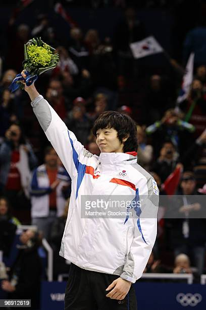 Lee JungSu of South Korea celebrates winning the gold medal during the Short Track Speed Skating Men's 1000m Final on day 9 of the Vancouver 2010...