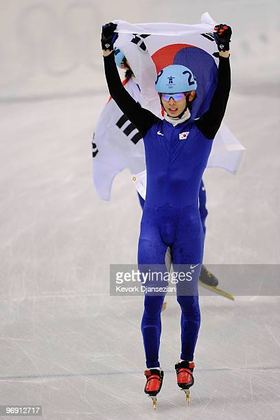 Lee JungSu of South Korea celebrates winning the gold medal during the Short Track Speed Skating Men's 1000 m on day 9 of the Vancouver 2010 Winter...