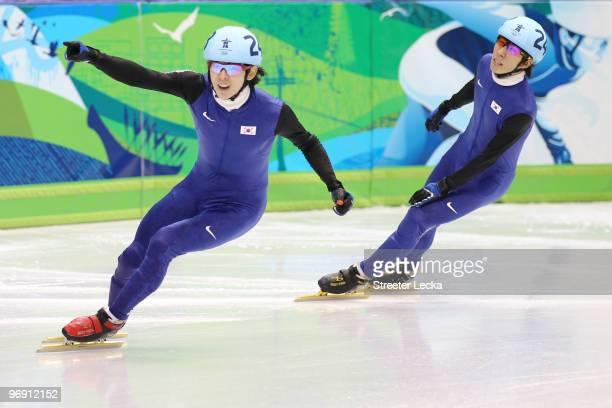 Lee JungSu of South Korea celebrates winning the gold medal from silver medalist Lee HoSuk of South Korea during the Short Track Speed Skating Men's...