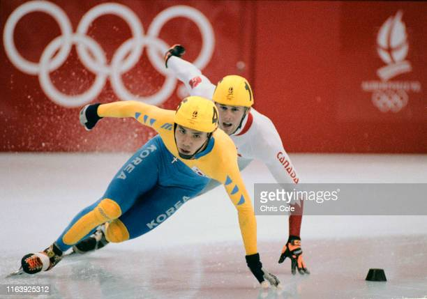 Lee Jun-Ho of South Korea in the Men's 5,000 metres Relay Short Track Speed Skating competition on 22nd February 1992 during the XVII Olympic Winter...