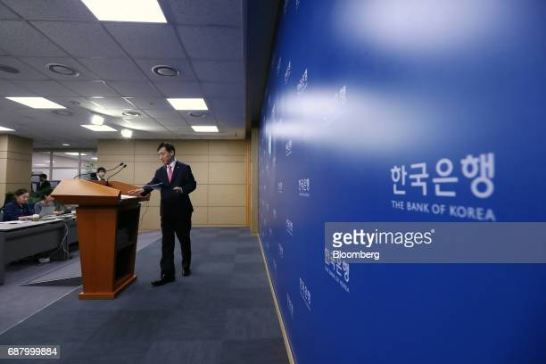 Lee Juyeol governor of the Bank of Korea arrives at a news conference following a monetary policy meeting at the central bank's headquarters in Seoul...