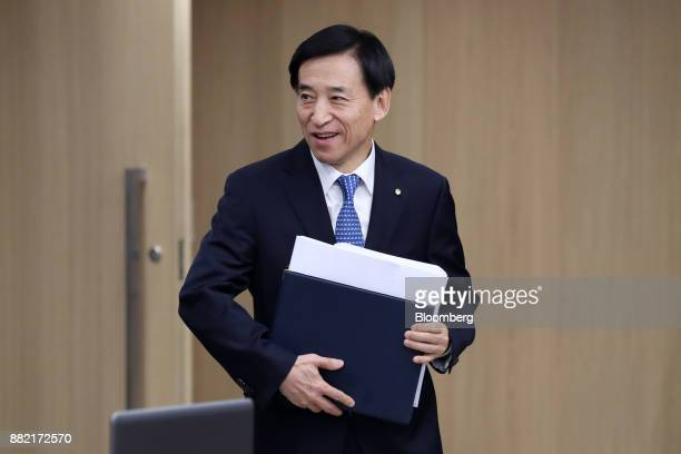 Lee Juyeol governor of the Bank of Korea arrives for a monetary policy meeting in Seoul South Korea on Thursday Nov 30 2017 BOK raised its benchmark...