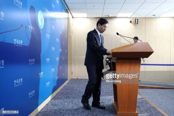 Lee Juyeol governor of the Bank of Korea arrives for a news conference in Seoul South Korea on Thursday Nov 30 2017 BOK raised its benchmark interest...