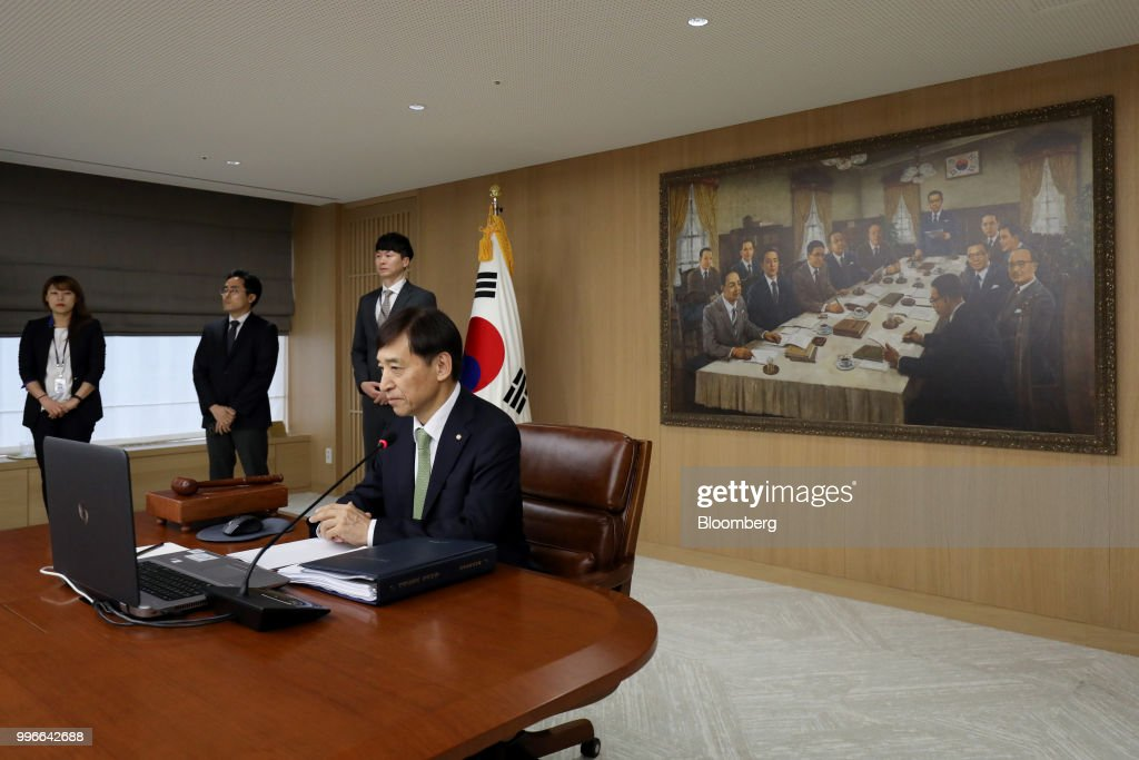 Lee Ju-yeol, governor of the Bank of Korea (BOK), attends a monetary policy meeting in Seoul, South Korea, on Thursday, July 12, 2018. BOK left its key interest rate unchanged on Thursday amid a sharp rise in global trade tensions and slowing jobs growth in Asias fourth-largest economy. Photographer: SeongJoon Cho/Bloomberg via Getty Images