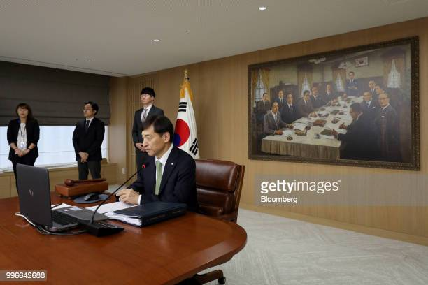 Lee Juyeol governor of the Bank of Korea attends a monetary policy meeting in Seoul South Korea on Thursday July 12 2018 BOK left itskey...