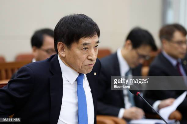 Lee Juyeol governor of the Bank of Korea attends a parliamentary hearing for his reappointment at the National Assembly in Seoul South Korea on...