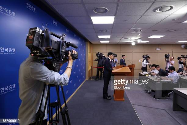 Lee Juyeol governor of the Bank of Korea center speaks during a news conference following a monetary policy meeting at the central bank's...
