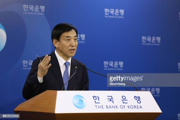 Lee Juyeol governor of the Bank of Korea gestures as he speaks during a news conference in Seoul South Korea on Thursday Nov 30 2017 BOK raised its...