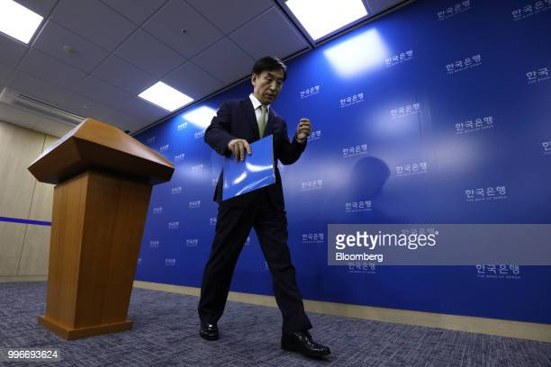 Lee Juyeol governor of the Bank of Korea leaves a news conference in Seoul South Korea on Thursday July 12 2018 The central bank left itskey...