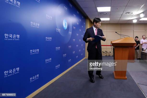 Lee Juyeol governor of the Bank of Korea leaves following a news conference following a monetary policy meeting at the central bank's headquarters in...