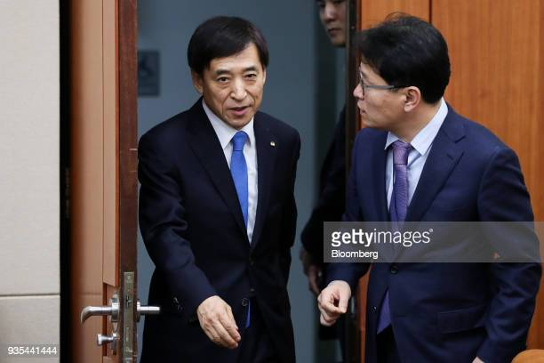 Lee Juyeol governor of the Bank of Korea left arrives for a parliamentary hearing for his reappointment at the National Assembly in Seoul South Korea...