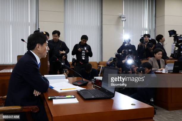Lee Juyeol governor of the Bank of Korea left speaks during a parliamentary hearing for his reappointment at the National Assembly in Seoul South...