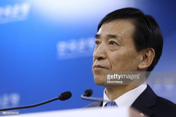 Lee Juyeol governor of the Bank of Korea listens during a news conference in Seoul South Korea on Thursday Nov 30 2017 BOK raised its benchmark...