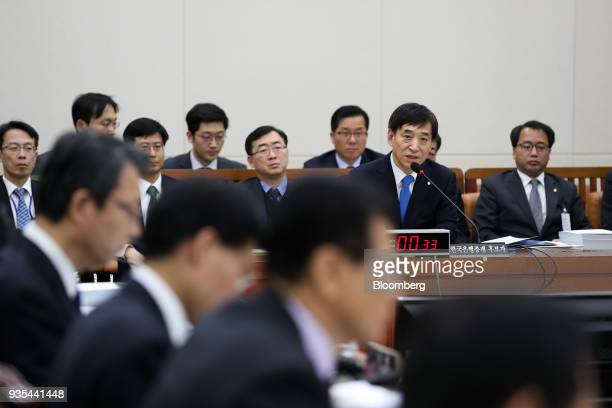 Lee Juyeol governor of the Bank of Korea second right speaks during a parliamentary hearing for his reappointment at the National Assembly in Seoul...