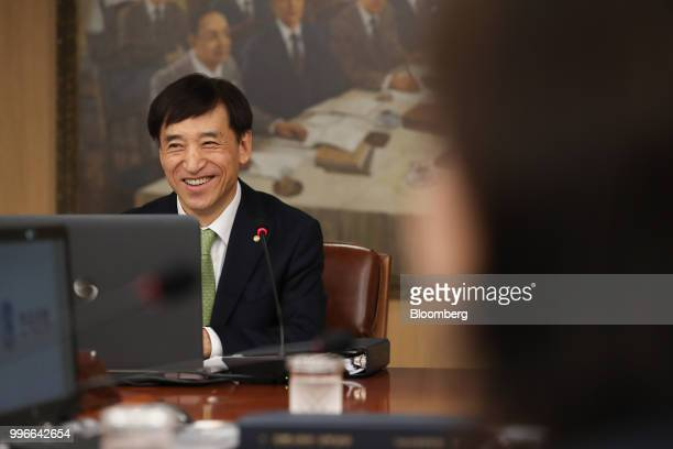 Lee Juyeol governor of the Bank of Korea smiles as he attends a monetary policy meeting in Seoul South Korea on Thursday BOK left itskey...