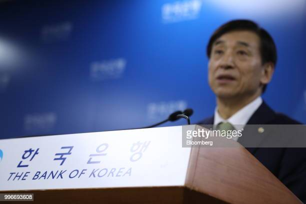 Lee Juyeol governor of the Bank of Korea speaks at a news conference in Seoul South Korea on Thursday July 12 2018 The central bank left itskey...