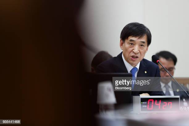 Lee Juyeol governor of the Bank of Korea speaks during a parliamentary hearing for his reappointment at the National Assembly in Seoul South Korea on...