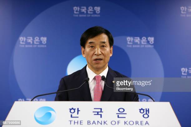 Lee Juyeol governor of the Bank of Korea speaks during a news conference following a monetary policy meeting at the central bank's headquarters in...