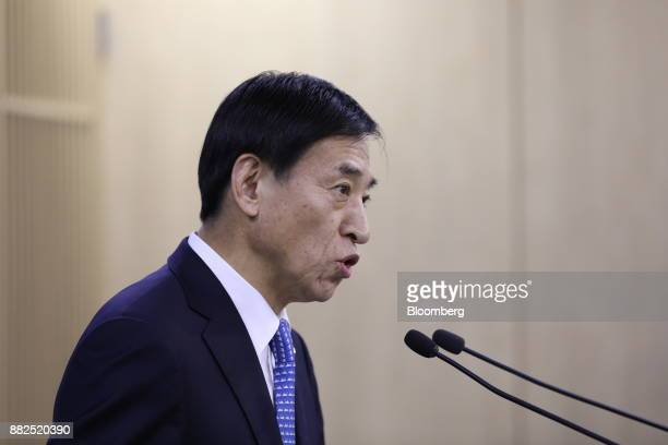 Lee Juyeol governor of the Bank of Korea speaks during a news conference in Seoul South Korea on Thursday Nov 30 2017 BOK raised its benchmark...