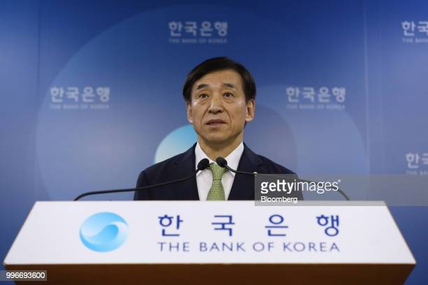 Lee Juyeol governor of the Bank of Korea speaks during a news conference in Seoul South Korea on Thursday July 12 2018 The central bank left itskey...
